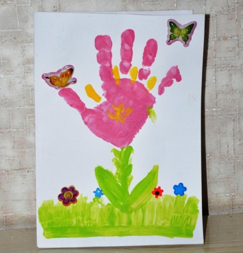 Для открыток, открытка из ладошки цветок