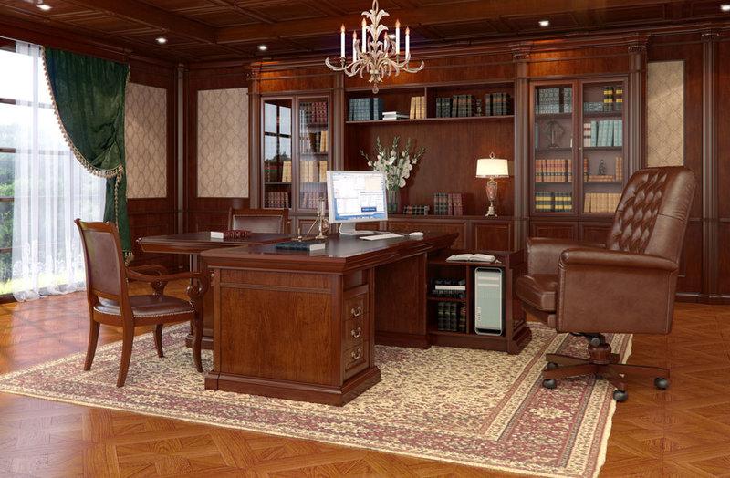 Домашний кабинет с темно-зелеными портьерами и однотонной шоколадной мебелью.