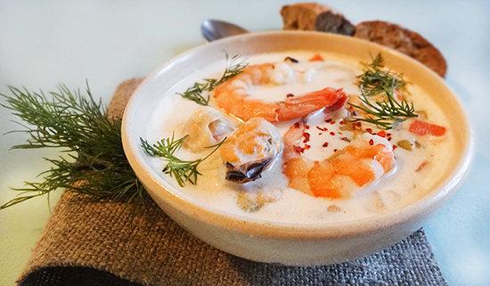 Ирландский суп чаудер с морепродуктами