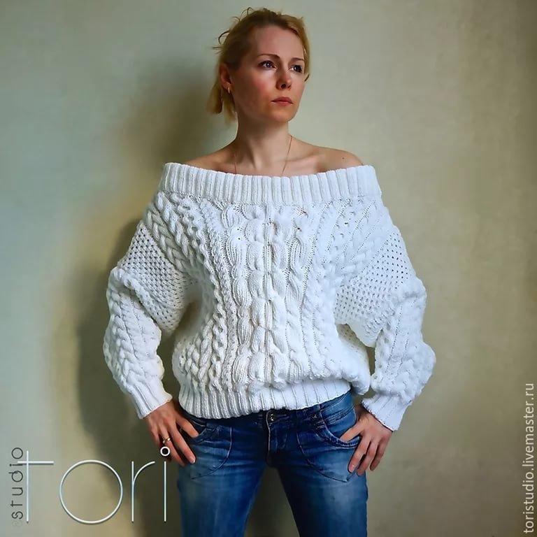 Вязание объемного свитера спицами для женщин