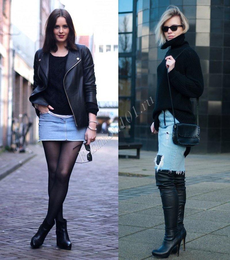 джинсовая юбка с черной курткой