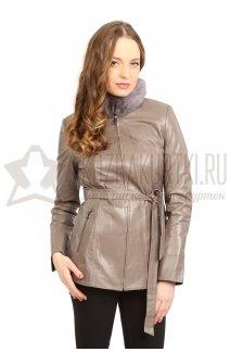 Фото Женская кожаная куртка (серая) с воротником из норки и поясом