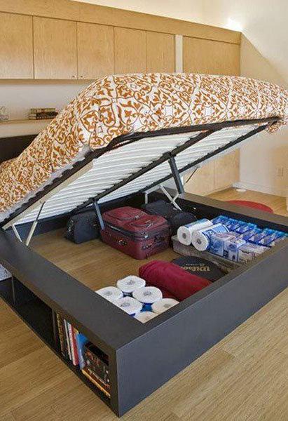 Подкроватное пространство в качестве места хранения вещей