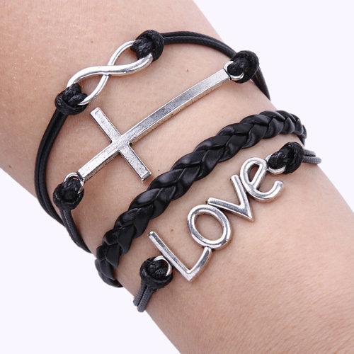 Кожаный браслет Крест - Любовь - Бесконечность, купить