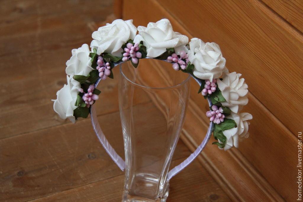 Купить Ободок для волос с Розами - белый, розовый, роза из ткани, ободок для волос, ободок с цветами
