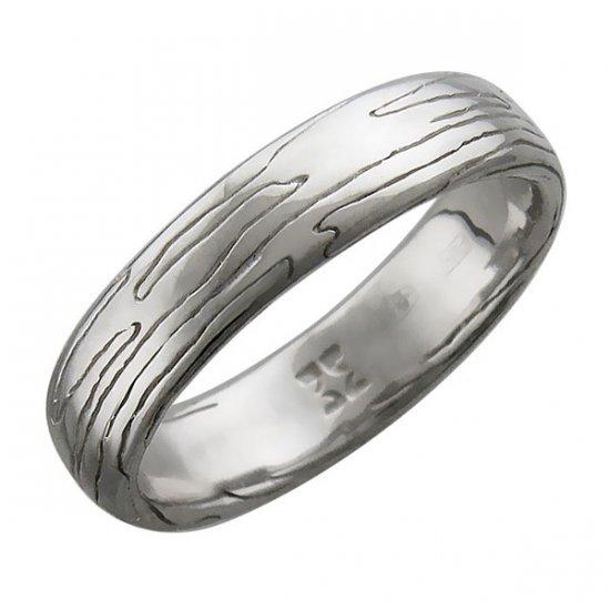 Мужское кольцо Тотем с фактурой кора дерева из серебра