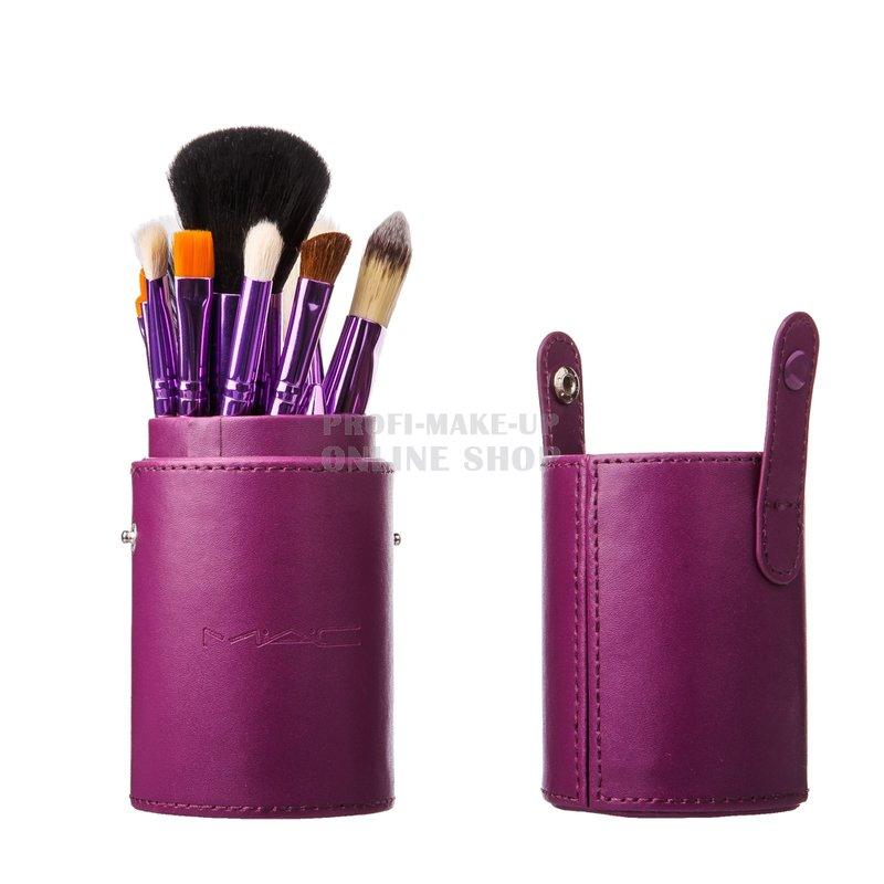 Набор натуральных кистей для визажистов «MAC 12» фиолетовые