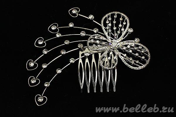 необычный гребень для волос на свадьбу в форме стразовой бабочки №134