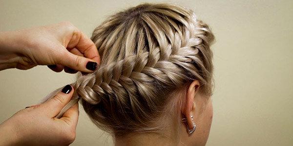 прическа корзинка на длинные волосы