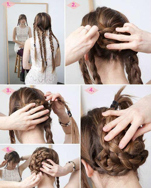 Пучки с плетениями на длинные волосы пошагово
