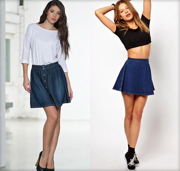 С чем носить джинсовую юбку - подбираем обувь и блузку. Фасоны юбок (много фото)
