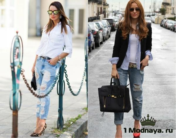 с чем носить рваные джинсы фото