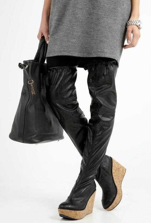 С чем правильно носить высокие ботфорты?