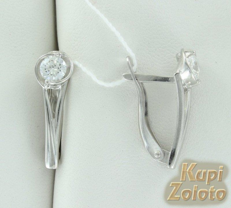 Серебряные серьги с кристаллами Сваровски - купить с доставкой в Москве и России
