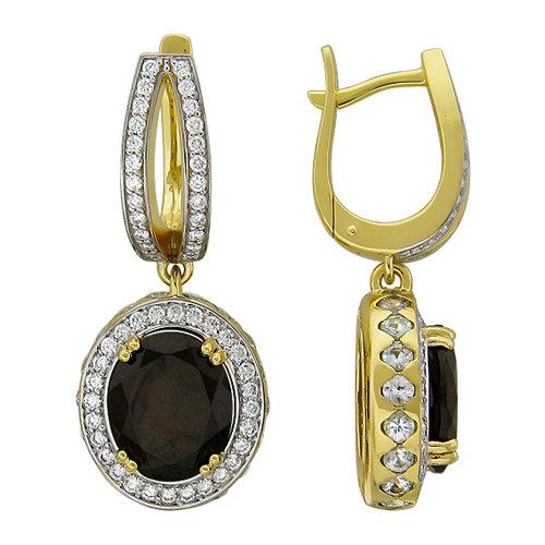 Серьги из желтого золота 750 пробы c камнями: бриллиант, гранат 11-1232-Y
