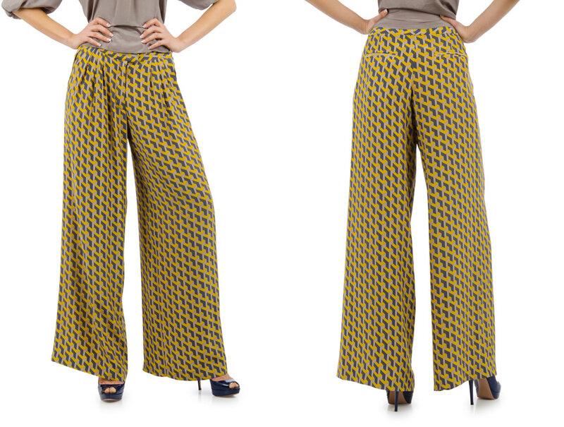 Широкие брюки с геометрическим орнаментом