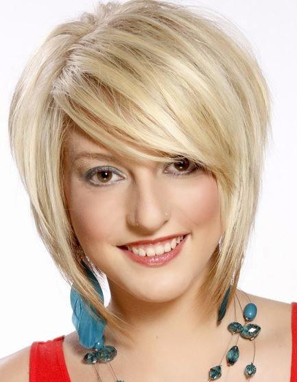 стрижка на блондинке с челкой