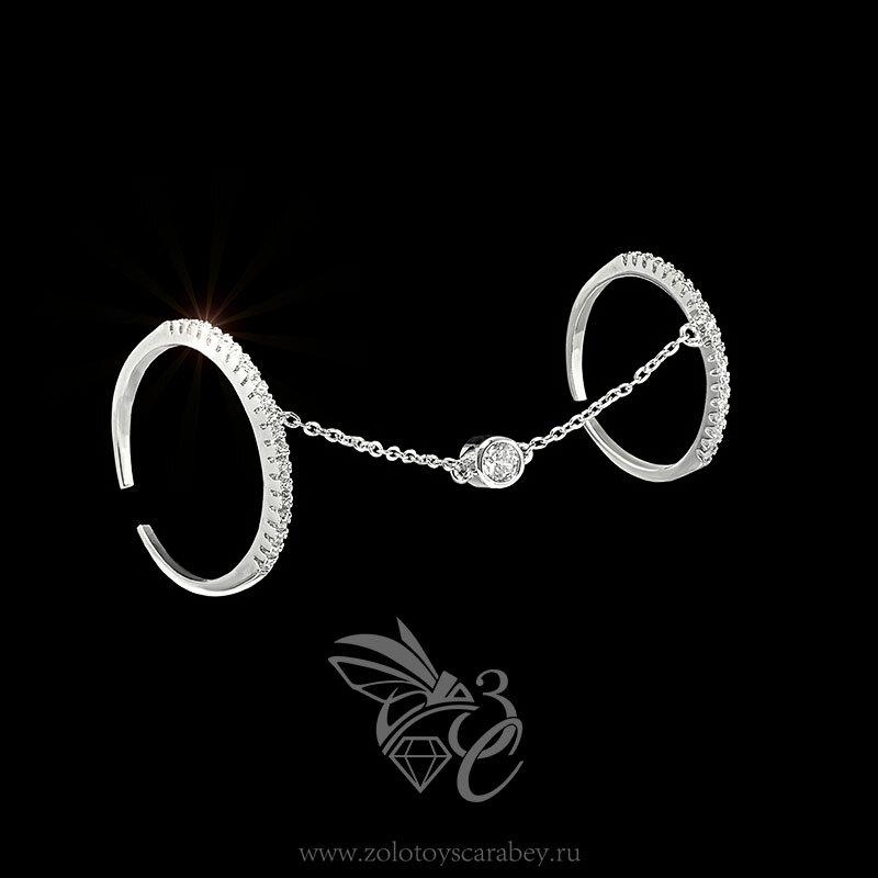 В каталоге Кольцо из коллекции Золотой скарабей 2016 с белыми цирконами на весь палец серебряное — цена