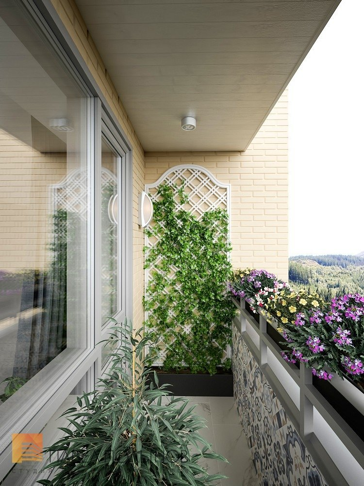 """Балкон в проекте """"квартира в стиле американской неоклассики,."""