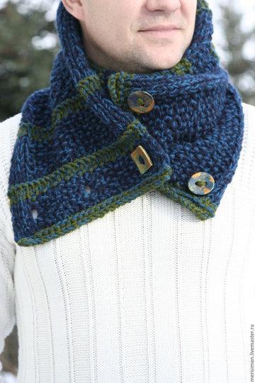 мужской шарф снуд вязаный на спицах оригинальная модель с