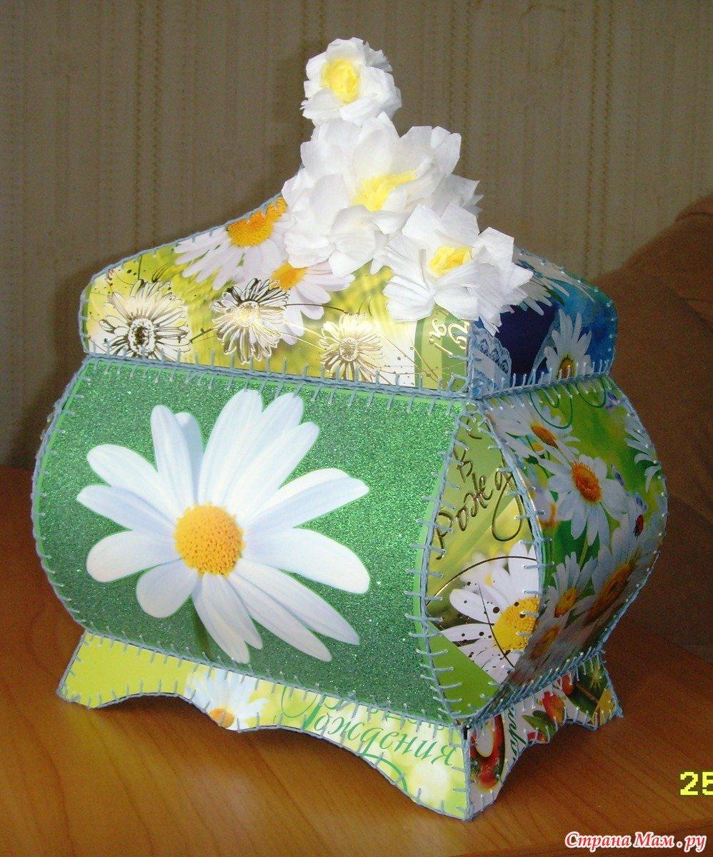 Поделки из открыток вазочки