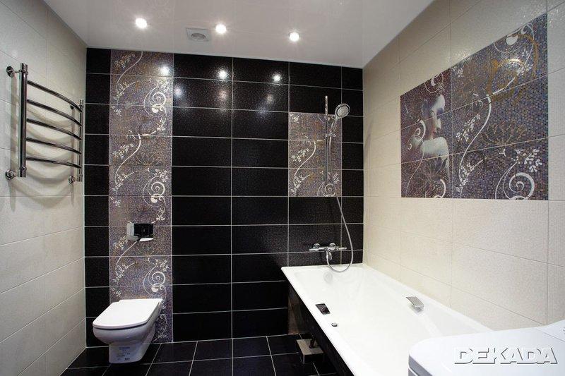 дизайн черно-белой плитки в ванной комнате фото