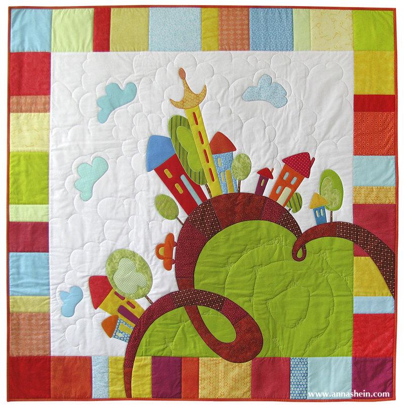 """Anna Shein•ART Лоскутное шитье: Детское одеяло с аппликацией """"Веселые домики"""" + анонс"""