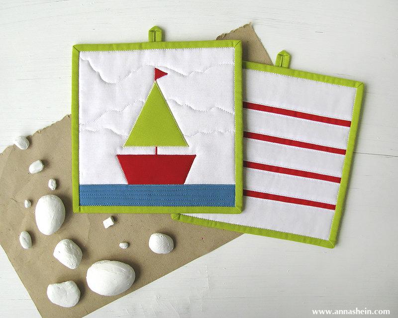 "Anna Shein•ART Лоскутное шитье: Хочу на море! или 2 комплекта прихваток ""Кораблик"""