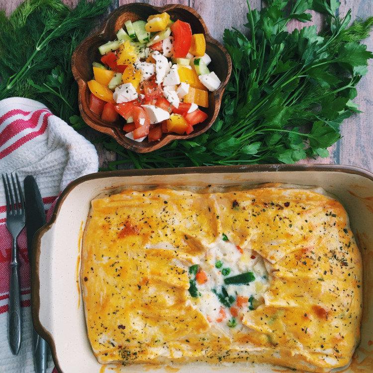 Рыбный пирог с овощами