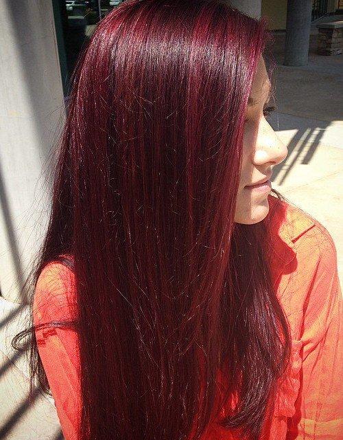 фото цвет волос красное дерево