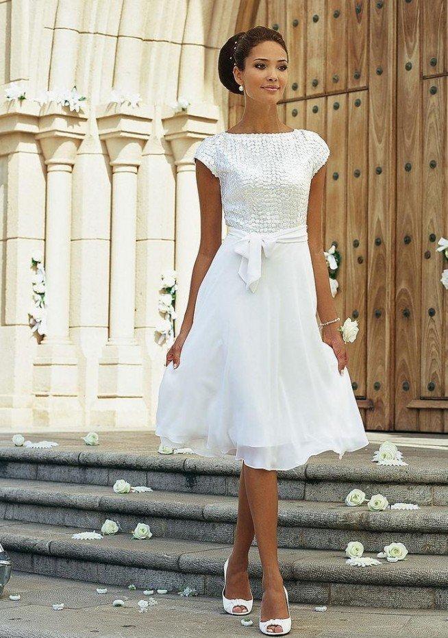 Короткое свадебное платье в стиле ретро