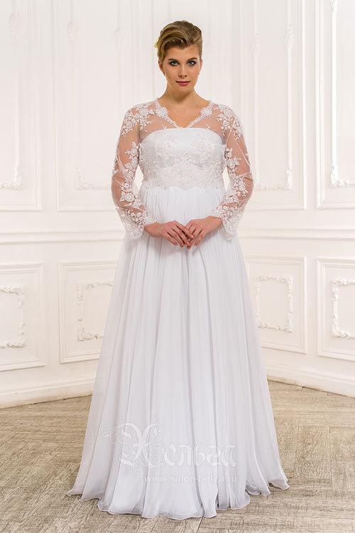 Свадебное платье для полных с болеро с рукавами, Натали
