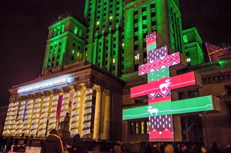 Палац культуры и науки в Варшаве на Новый год.
