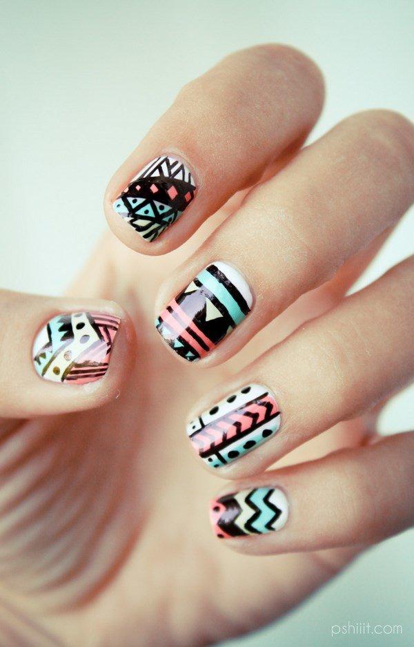 Простые красивые рисунки на коротких ногтях