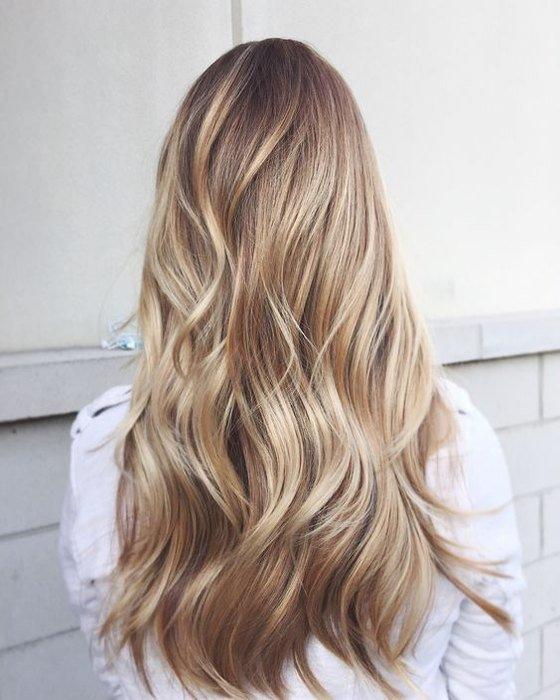 Балаяж на светлые длинные волосы