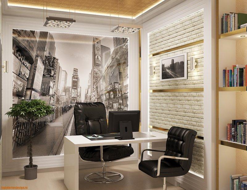 дизайн домашнего кабинета с фотообоями