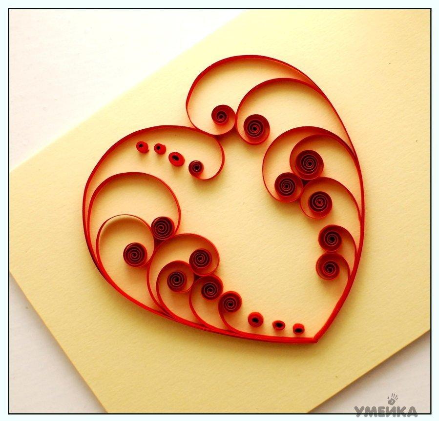 Квиллинг сердечко на открытке