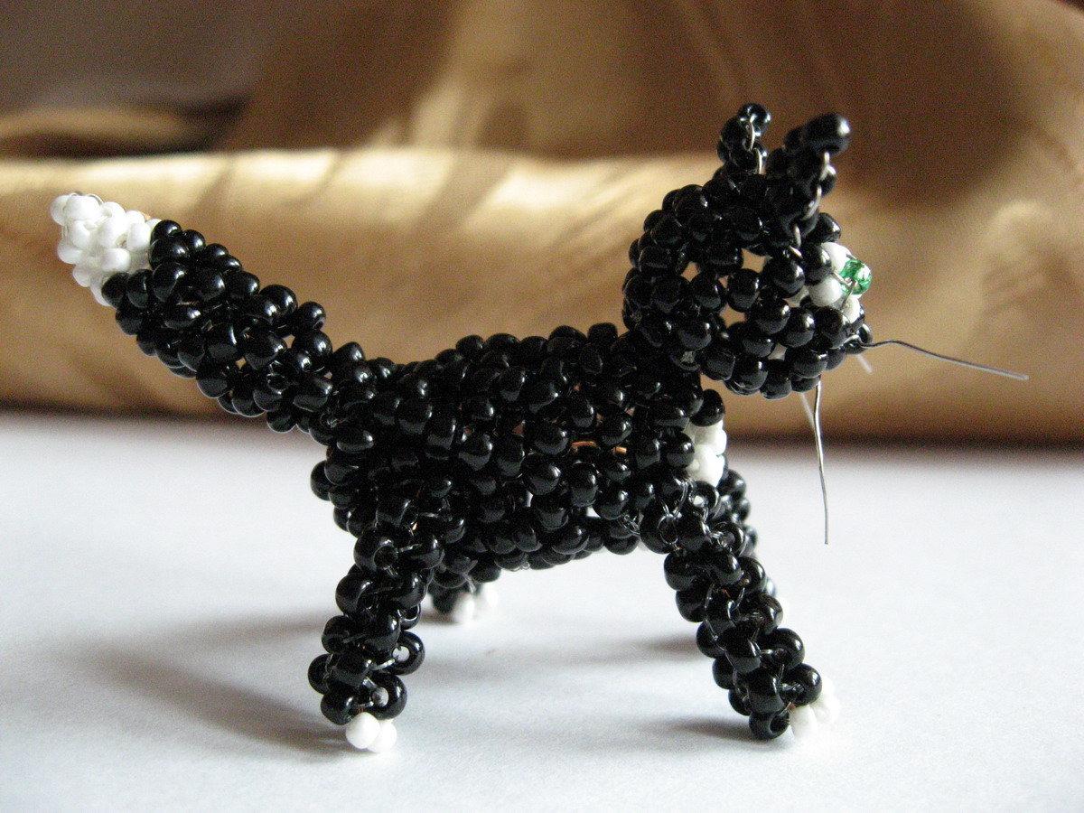 Кот из бисера схема плетения фото 128
