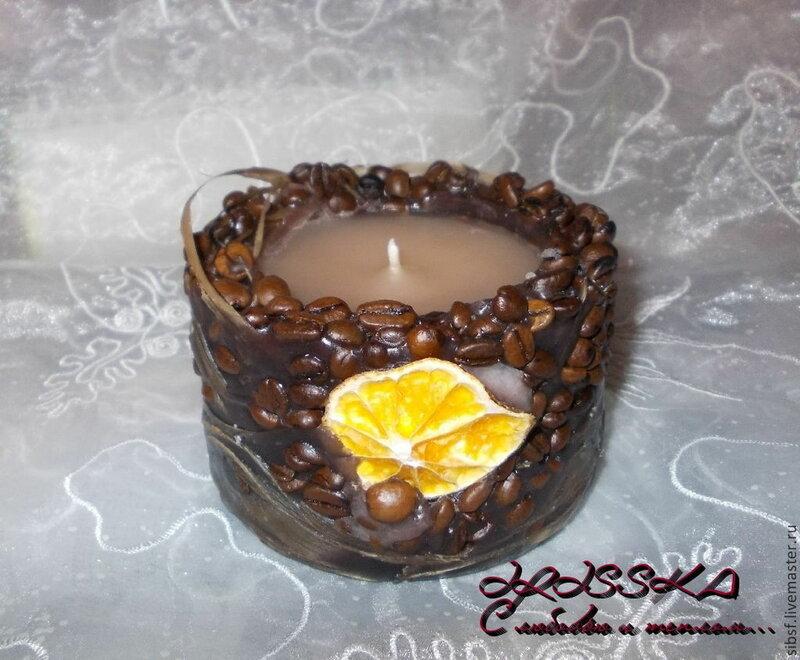 Свеча ручной работы Кофейная с апельсинкой