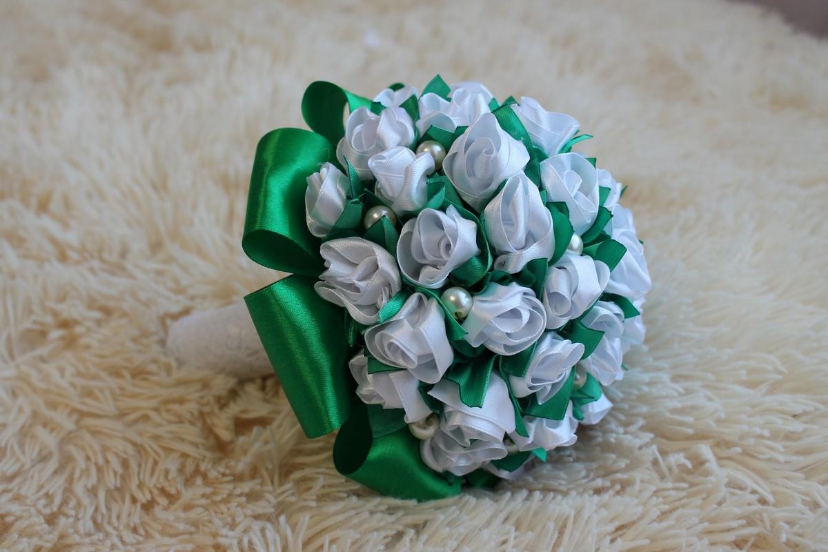 Свадебный букет цветы из лент мастер класс