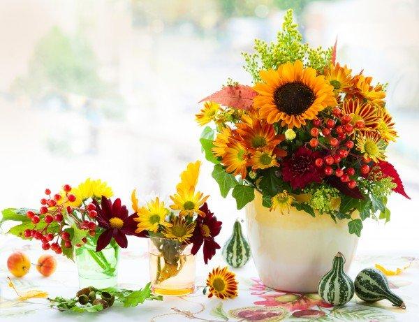 Композиции из осенних цветов