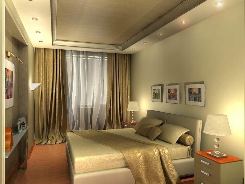 Современный интерьер спальни узкой