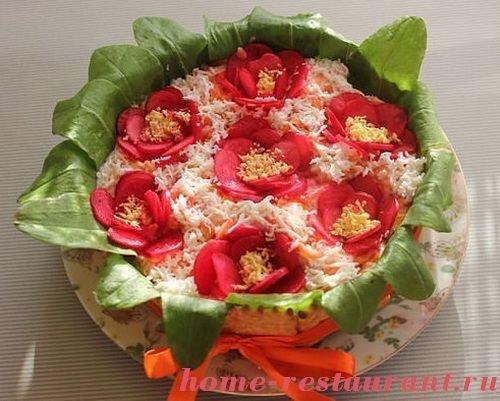 Как делать украшения для салатов цветы с фото