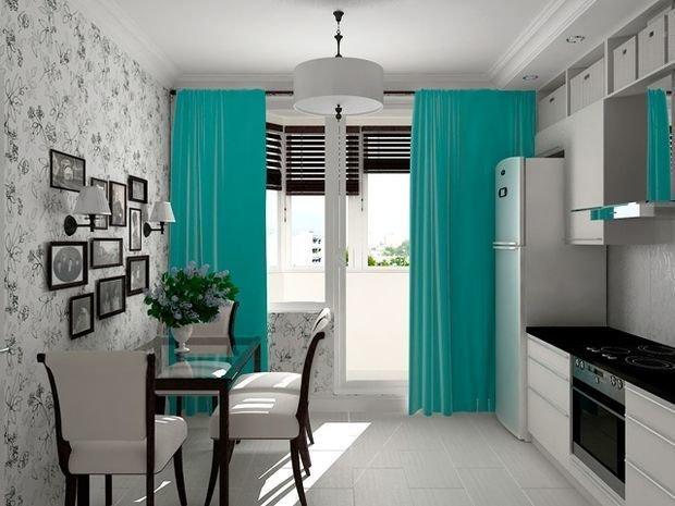 Дизайн интерьера кухни шторы