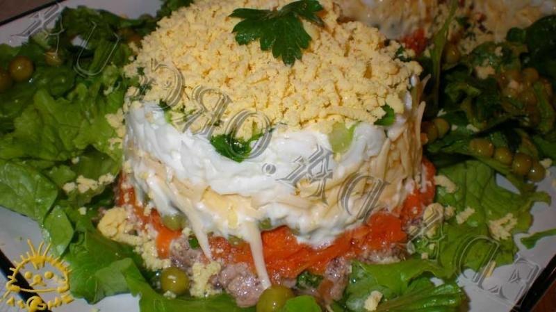 салат с печенью рецепт классический пошаговый рецепт с фото