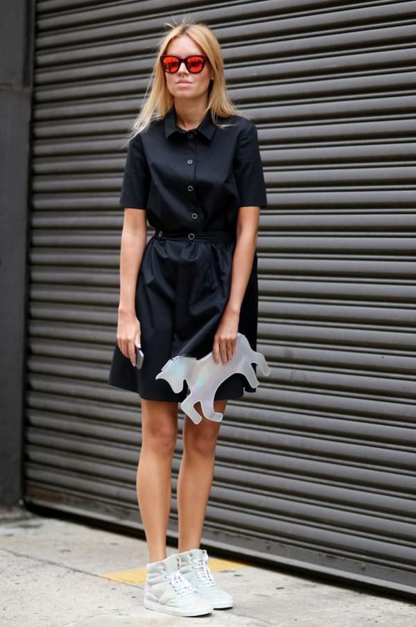 Фото кеды черное платье