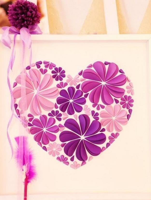 Открытка своими руками цветы в сердце