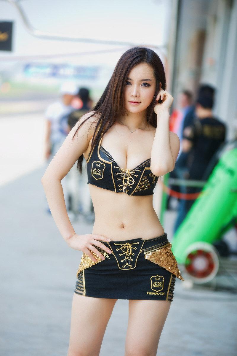 Asian milf in black lingerie