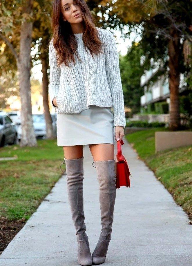 С чем носить серые ботфорты на каблуке