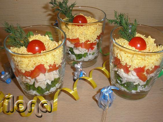 Салаты в стаканах рецепты фото